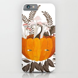 Autumn pumpkin with pink mushrooms watercolor illustration iPhone Case