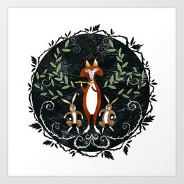 Fox & Rabbit Dance Art Print