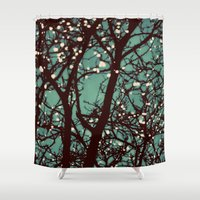 moss Shower Curtains featuring Night Lights by elle moss