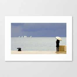 Girl on the pier in the rain Canvas Print