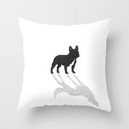 Wild At Heart - Black French Bulldog Throw Pillow