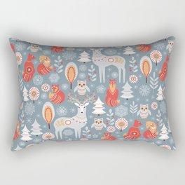 Fairy forest, deer, owls, foxes. Decorative pattern in Scandinavian style. Folk art. Rectangular Pillow