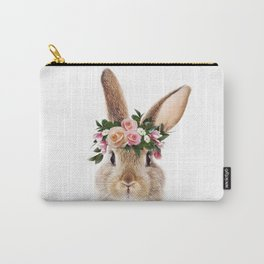 Baby Rabbit, Brown Bunny With Flower Crown, Baby Animals Art Print By Synplus Carry-All Pouch