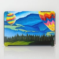 hot air balloons iPad Cases featuring Acrylic Hot Air Balloons by Megan White