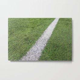 Sideline football field, Sideline chalk mark artificial grass soccer field Metal Print