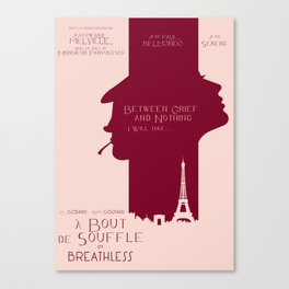 Breathless (À bout de souffle) minimal movie poster, Jean-Luc Godard, classic french film, new wave Canvas Print