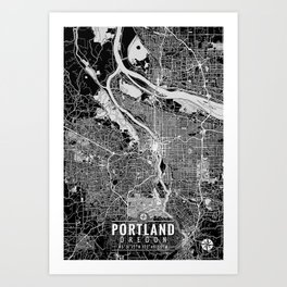 Portland Oregon Map with Coordinates Art Print