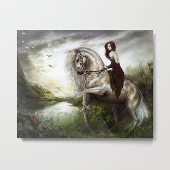 Morning welcome - Royal redead girl riding a white horse Metal Print