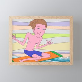Surfer having fun Framed Mini Art Print