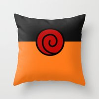 naruto Throw Pillows featuring NARUTO SUIT by Bilqis