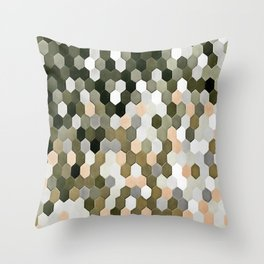 Honeycomb Pattern In Shades Of Grey and Pink Throw Pillow