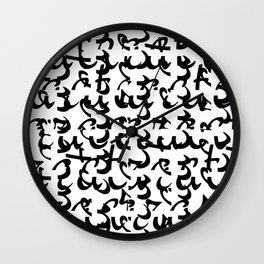 Font fantasy b&w pattern design Wall Clock