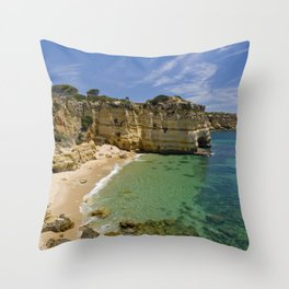 Small cove on the Algarve, Portugal Throw Pillow