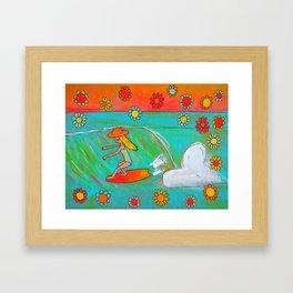 hang 5 lady slider flower power  Framed Art Print