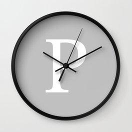 Silver Gray Basic Monogram P Wall Clock