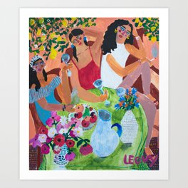 with the girls Art Print