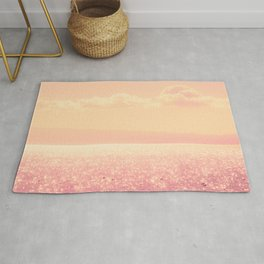 Dreamy Champagne Pink Sparkling Ocean Rug