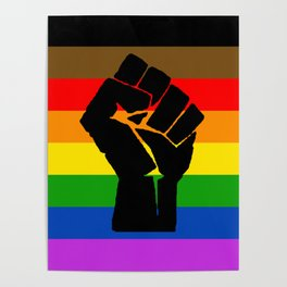 LGBT Pride Flag More Colors Raised Fist (More Pride) Poster