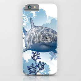 Blue shark coral seaweed wall hanging home deco iPhone Case