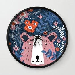 Bear Garden Wall Clock