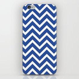 blue, white zig zag pattern design iPhone Skin