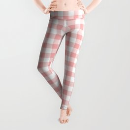 Lush Blush Pink and White Gingham Check Leggings