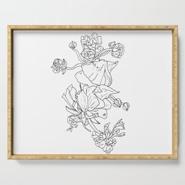 Floral Ink - Black & White Ranunculus by Cooper and Colleen Serving Tray