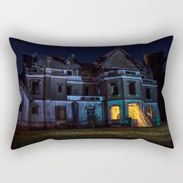 Castle on fire Rectangular Pillow