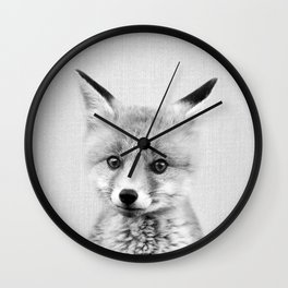 Baby Fox - Black & White Wall Clock
