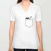 pocket V-neck T-shirts featuring Pocket Cat by Tobe Fonseca