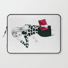 Giraffe Print Fashion Model Watercolor Laptop Sleeve
