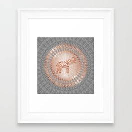 Rose Gold Gray Elephant Mandala Framed Art Print