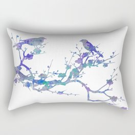 Love Birds On Floral Branch Watercolor Painting Rectangular Pillow