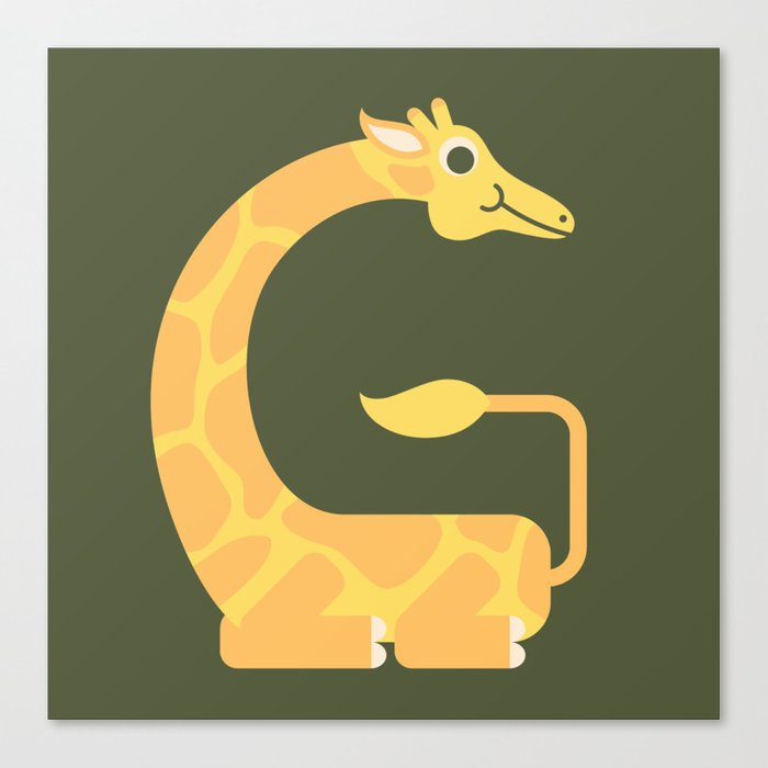 Letter G // Animal Alphabet // Giraffe Monogram Canvas Print
