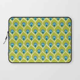 Modern Peacock Feather Blue Green Abstract Pattern Laptop Sleeve