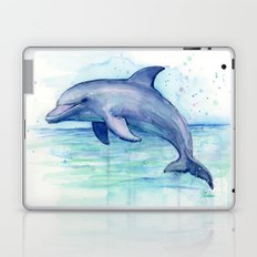 Dolphin Watercolor Sea Creature Animal Laptop & iPad Skin