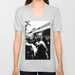 ALL ABOARD! Waiting to get on the Train! Unisex V-Neck