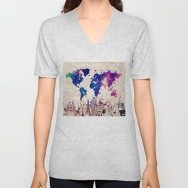 world map city skyline galaxy 2 Unisex V-Neck