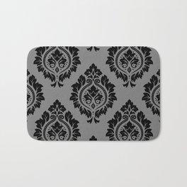 Decorative Damask Pattern Black on Gray Bath Mat