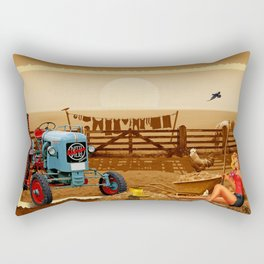 Pin Up Girl with tractor on the farm Rectangular Pillow