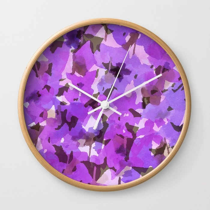 Red Violet Field Flowers Wall Clock
