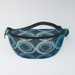 Blue Circles Abstract Pattern Fanny Pack