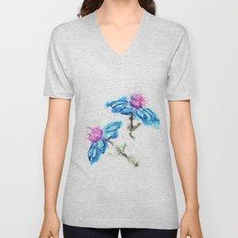 Blue Flowers Painting Unisex V-Neck