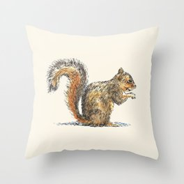 Sitting Squirrel Throw Pillow