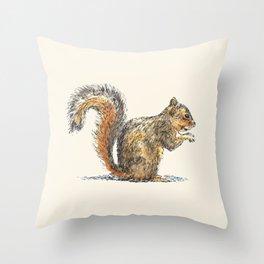 Sitting Squirrel Throw Pillow