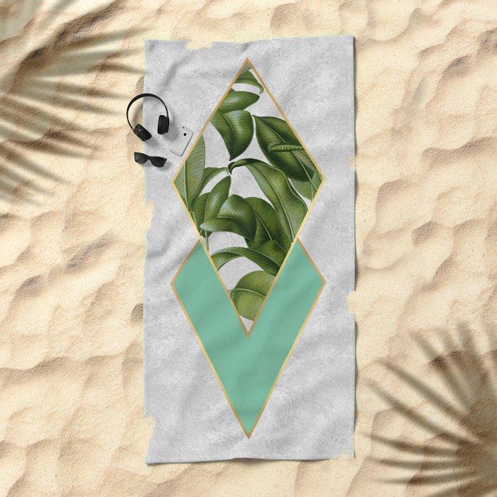 Leaves on marble Beach Towel