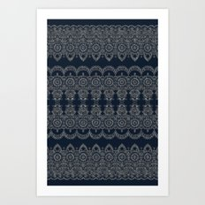 Silvery Striped Doodle Art Print