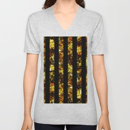 Golden Stripes - Abstract, black and gold, metallic, textured, stripy pattern Unisex V-Neck