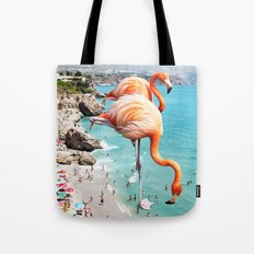 Flamingos on the Beach #society6 #decor #buyart Tote Bag