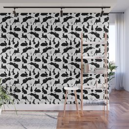Rabbit Pattern | Rabbit Silhouettes | Bunny Rabbits | Bunnies | Hares | Black and White | Wall Mural
